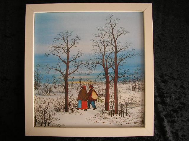 ivan lackovic druck 70er naive malerei 2 im winterwald ebay. Black Bedroom Furniture Sets. Home Design Ideas